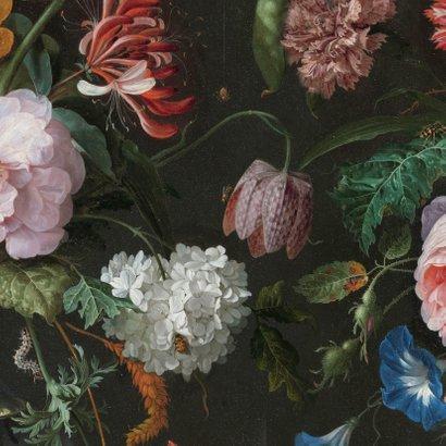 Stijlvol botanisch geboortekaartje met bloemen en goud Achterkant
