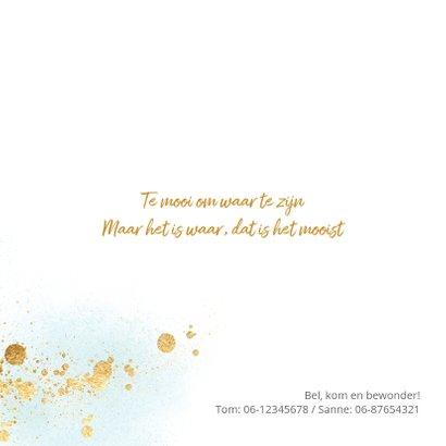 Stijlvol geboortekaartje aquarel goud spetters 2
