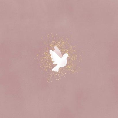 Stijlvol geboortekaartje duif, gouden spetters en waterverf Achterkant