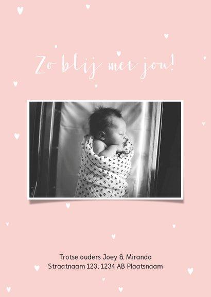 Stijlvol geboortekaartje met letter, goudlook en eigen foto 2