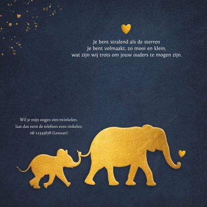 Stijlvol geboortekaartje met silhouet van baby olifant  2