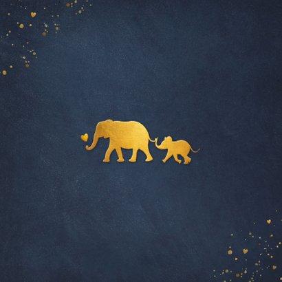 Stijlvol geboortekaartje met silhouet van baby olifant  Achterkant