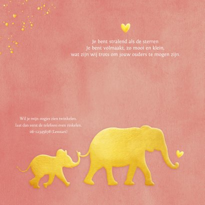 Stijlvol geboortekaartje met silhouet van olifant in goud 2