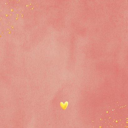 Stijlvol geboortekaartje met silhouet van olifant in goud Achterkant