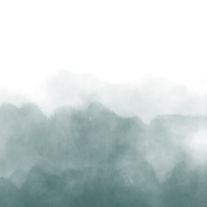 Stijlvol geboortekaartje petrol blauwe waterverf met hartje Achterkant