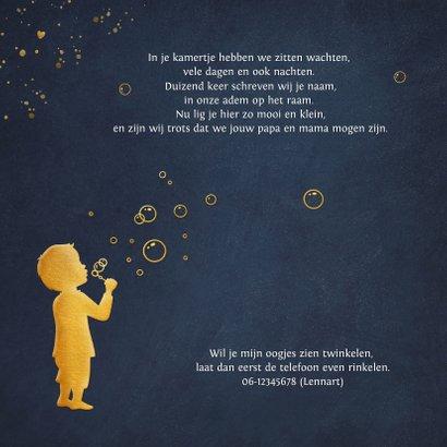 Stijlvol geboortekaartje voor jongen - bellenblaas silhouet 2