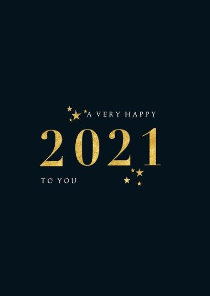 Stijlvol gouden 2021 en grote foto nieuwjaarskaart 2