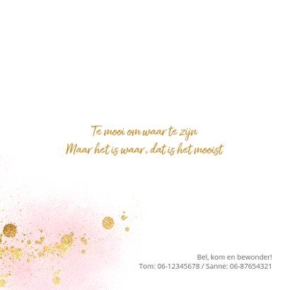 Stijlvol roze geboortekaartje goud spetters 2