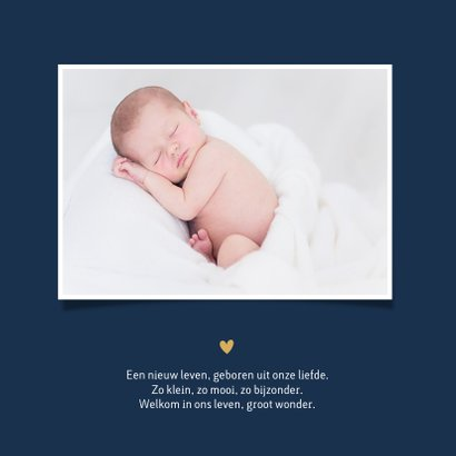 Stijlvol simpel geboortekaartje jongen met handschrift naam  2