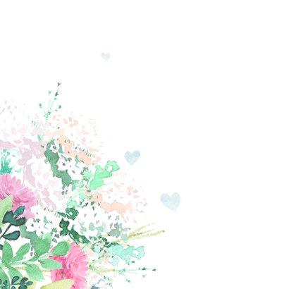 Stijlvol trouwkaart met duifjes in pastel kleuren 2