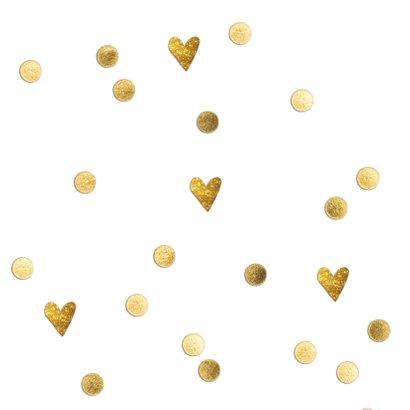 Stijlvol wit bedankkaartje bruiloft met gouden hartjes 2