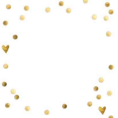 Stijlvol wit bedankkaartje bruiloft met gouden hartjes Achterkant