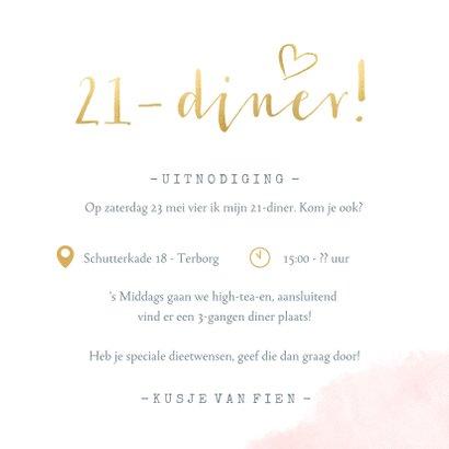 Stijlvolle 21-diner uitnodiging kaart met roze waterverf  3