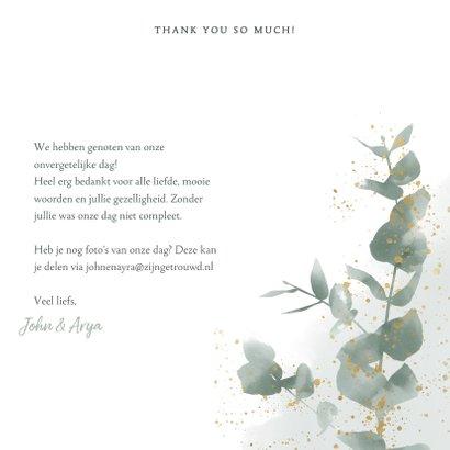 Stijlvolle bedankkaart waterverf, takjes & gouden spetters 3