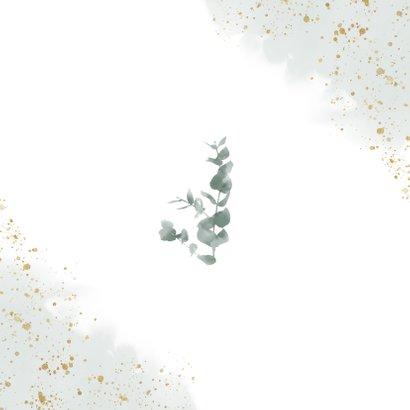 Stijlvolle bedankkaart waterverf, takjes & gouden spetters Achterkant