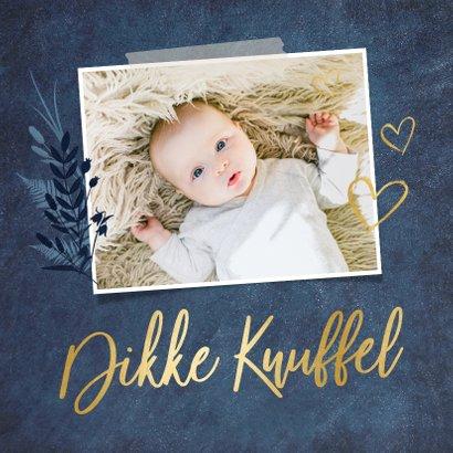 Stijlvolle beterschapskaart met eigen foto en gouden knuffel 2