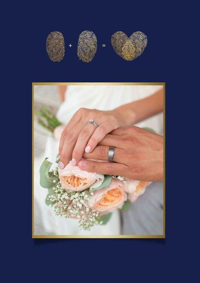 Stijlvolle blauwe bedankkaart trouwen met eigen foto en goud 2