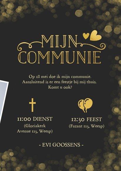 Stijlvolle communie uitnodigingskaart met gouden accenten 3