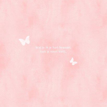Stijlvolle condoleance kaart met waterverf vlinder meisje 2