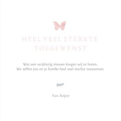 Stijlvolle condoleance kaart met waterverf vlinder meisje 3