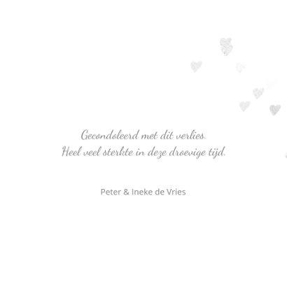 Stijlvolle condoleancekaart met hartjes 3