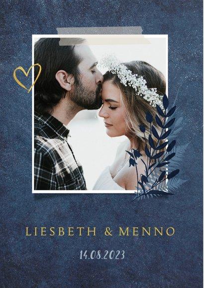 Stijlvolle donkerblauwe botanische bedankkaart huwelijk 2