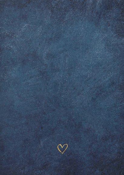 Stijlvolle donkerblauwe botanische bedankkaart huwelijk Achterkant