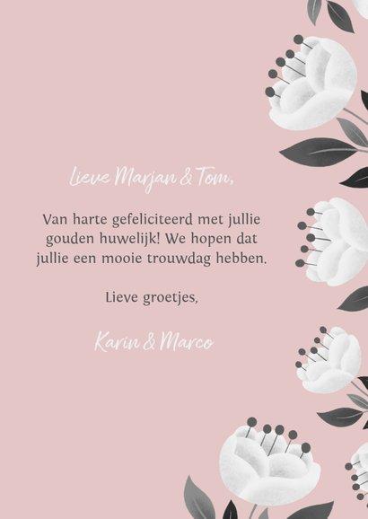 Stijlvolle felicitatiekaart jubileum met bloemen en takjes 3
