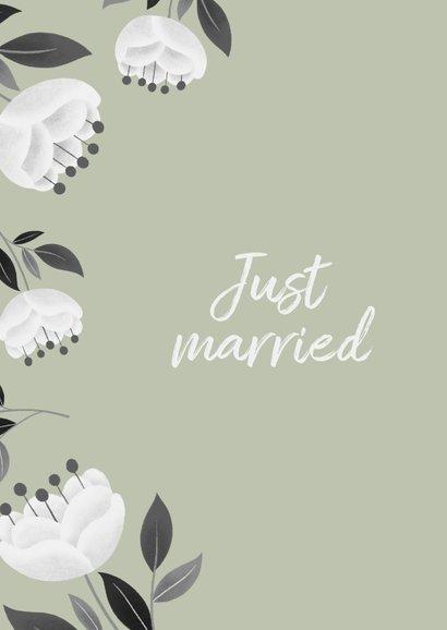 Stijlvolle felicitatiekaart voor huwelijk met witte bloemen 2