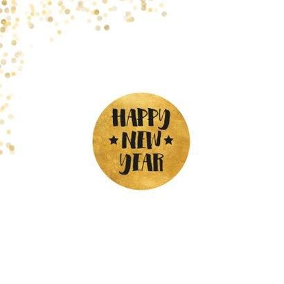 Stijlvolle foto kerstkaart met gouden confetti en cirkel 2
