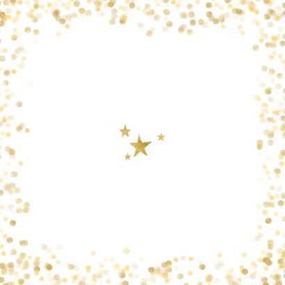 Stijlvolle foto kerstkaart met gouden confetti en cirkel Achterkant