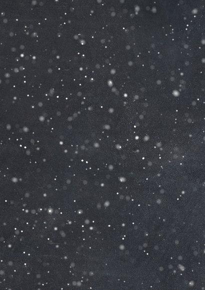 Stijlvolle fotokaart met sneeuw en merry christmas Achterkant