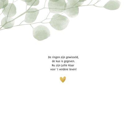 Stijlvolle groene eucalyptus felicitatiekaart huwelijk 2