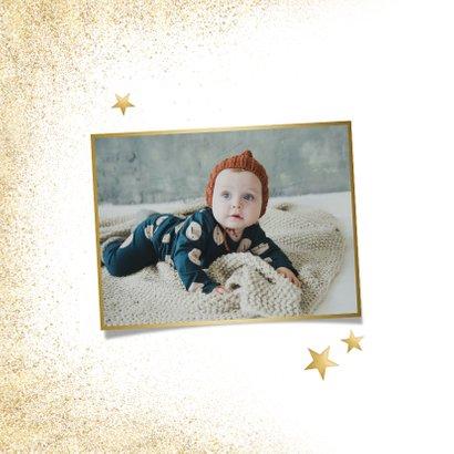 Stijlvolle grote foto kerstkaart en gezonde kerst goudlook 2