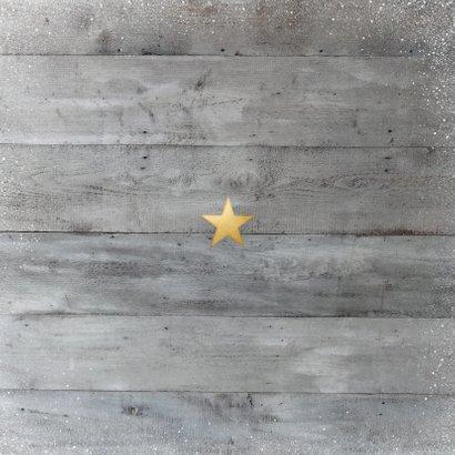 Stijlvolle houtlook kerstkaart met foto in gouden rand Achterkant