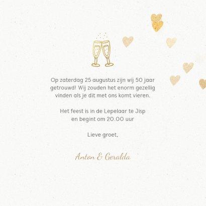 Stijlvolle huwelijksjubileum uitnodiging hartjes 3