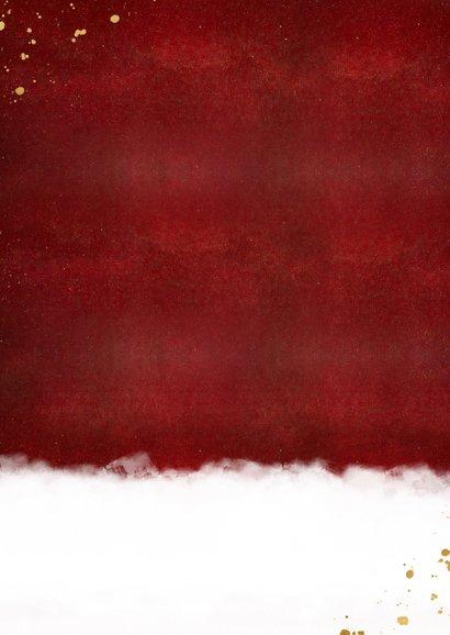 Stijlvolle internationale kerstkaart met kerstbal Achterkant
