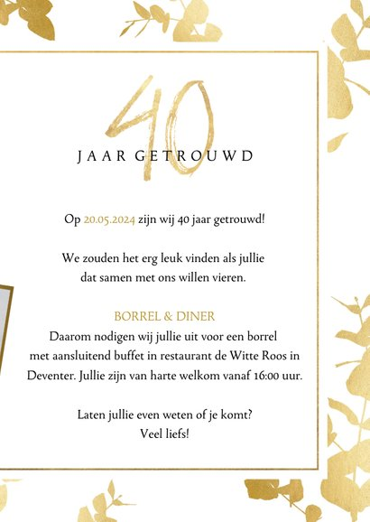 Stijlvolle jubileum uitnodiging 40 jaar met gouden plantjes 3