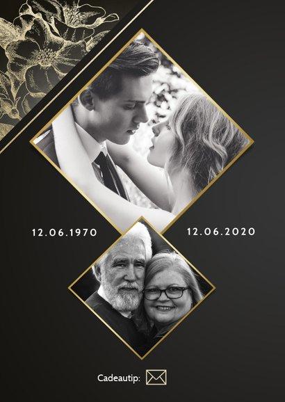 Stijlvolle jubileumkaart 50 jaar getrouwd gouden bloemen 2