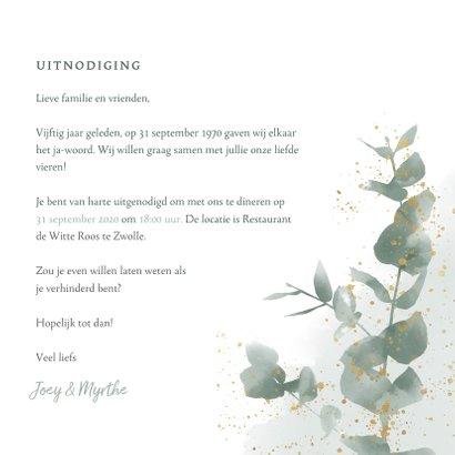 Stijlvolle jubileumkaart 50 jaar waterverf, spetters & takje 3