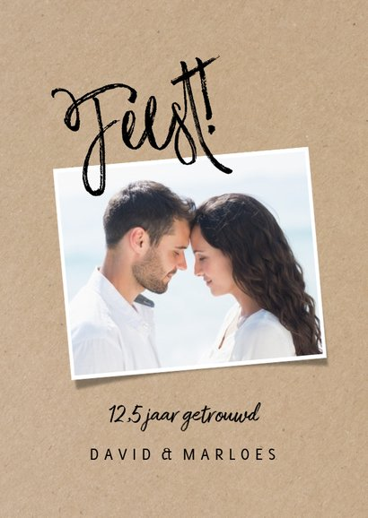 Stijlvolle jubileumkaart met foto's en Feest! 2