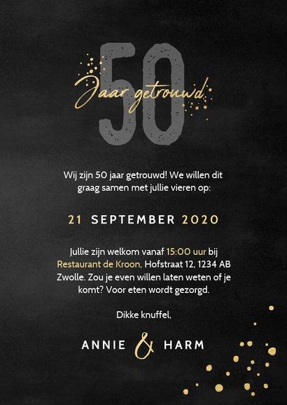 Stijlvolle jubileumkaart uitnodiging 50 jaar getrouwd zwart 3