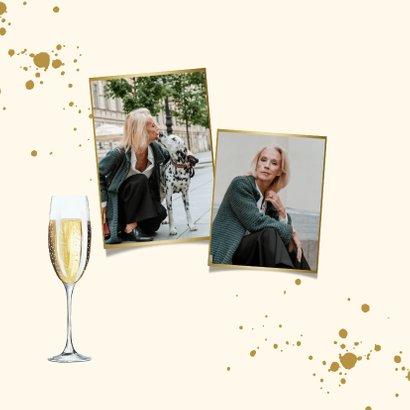 Stijlvolle kaart met champagneglazen, spetters en foto 2