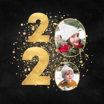 Stijlvolle kerstkaart 2020 gouden spetters fijne feestdagen 2
