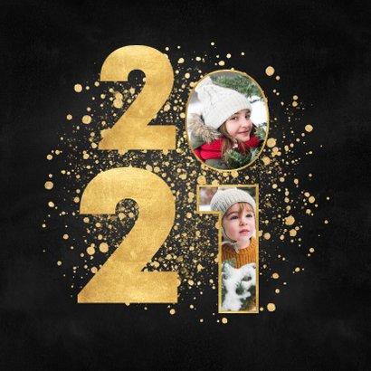 Stijlvolle kerstkaart 2021 gouden spetters fijne feestdagen 2