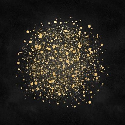 Stijlvolle kerstkaart 2021 gouden spetters fijne feestdagen Achterkant