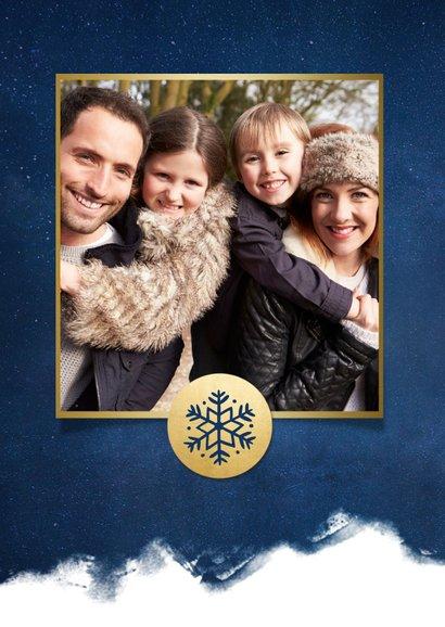 Stijlvolle kerstkaart best wishes blauw met goudlook sterren 2