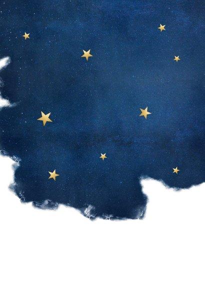 Stijlvolle kerstkaart best wishes blauw met goudlook sterren Achterkant