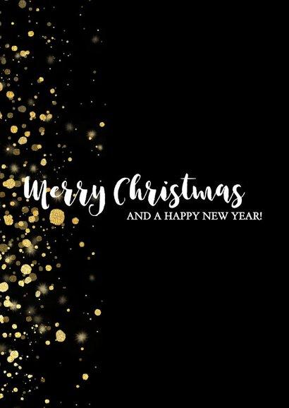 Stijlvolle kerstkaart fotocollage met gouden confetti 2