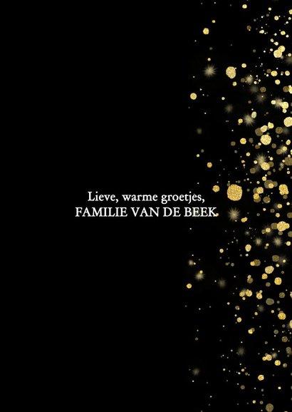 Stijlvolle kerstkaart fotocollage met gouden confetti 3